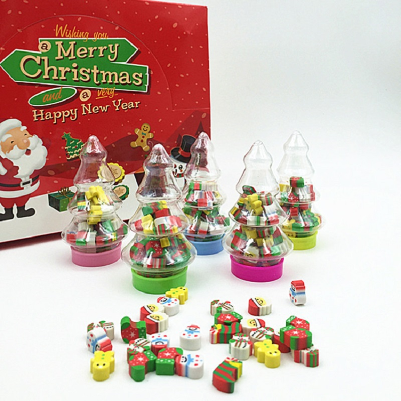 Christmas Gift Santa Tree Mini Erasers Kawaii Christmas Tree Pack Rubber Students Stationery School Supplies Papelaria For Kids