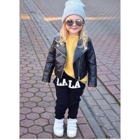 2017 New Boys PU Leather Jackets European And American Style Children Fashion Coats Girls Outerwear Spring