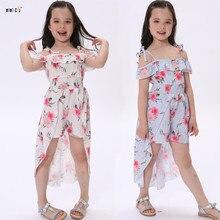 7902395163 Dziewczyna Floral Dress lato procy bez ramiączek księżniczka sukienki z  nadrukiem plaży nieregularne Vestidos dzieci dziecko
