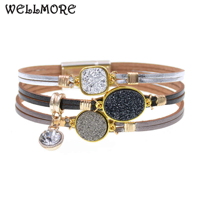 WELLMORE metal wrap bracelets Leather Bracelets For Women Men's charm Bracelets Couples gifts fashion Jewelry dropshipping