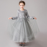 6 12T Kids Long Sleeve Beading Princess Birthday Performance Party Formal Holy Girls Dress Children Tutu Dress Christmas Clothes