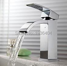 Новое поступление хром латунь смесители для ванной бассейна одной ручкой водопад Torneira горячей и холодной краны 1154C