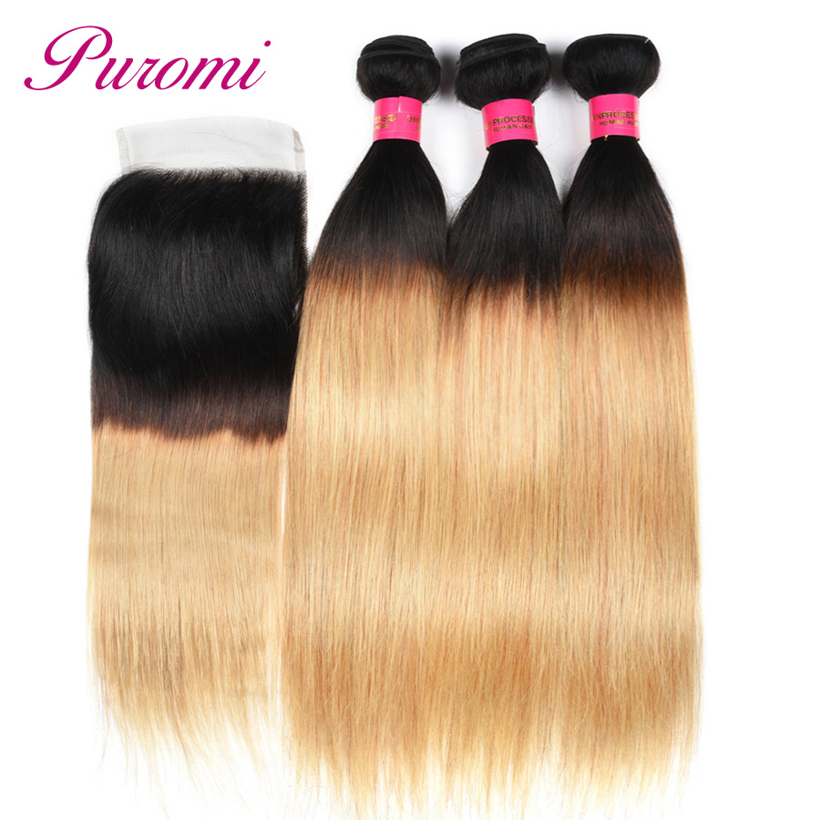 Puromi Brazilian Straight Hair Bundles with Closure Free Part Ombre Human Hair 3 Bundles With Lace Closure 1b/27 Non remy Hair