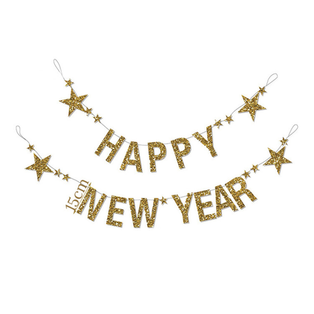 1set happy new year merry christmas banner gold star 2019 new year christmas party home decorations