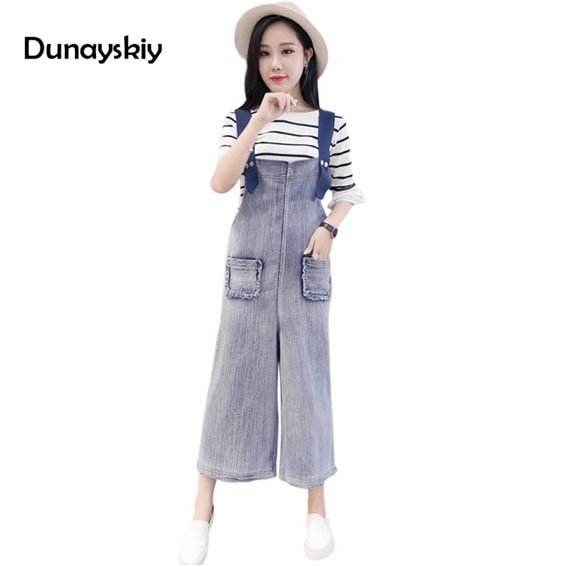 loose fashion new jumpsuit for woman ankle length pants solid pockets wide leg good match preppy chic students ladies jumpsuits