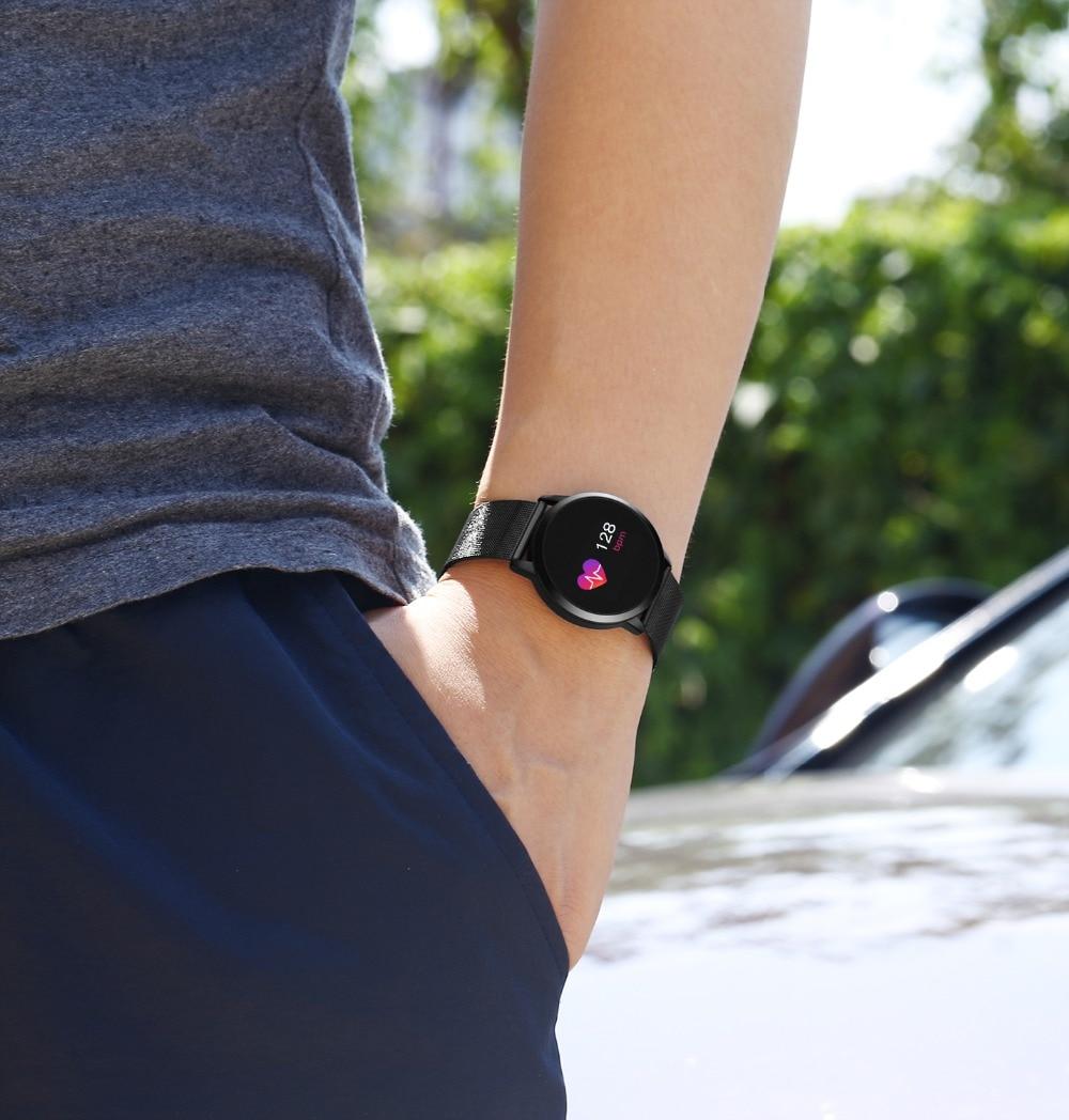 Rundoing Q8 חכם שעון OLED צבע מסך Smartwatch גברים אופנה כושר Tracker קצב לב