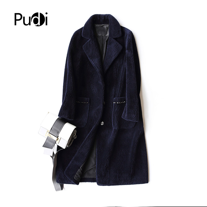 PUDI A17194 women's winter warm genuine wool fur with turn-down collar lady penguin back Long coat jacket overcoat