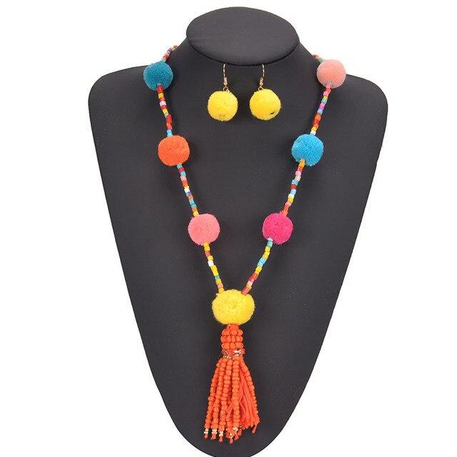 European Exaggerated Jewelry Set Ethnic Boho Long Tassel Drop Earrings Necklace Women Fashion Punk Fringed Sweater Pendant Chain