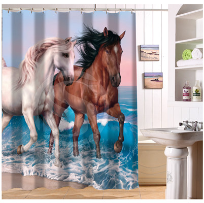 W52266 Custom Brown White Black Horse S1 Modern Shower Curtain Bathroom Waterproof Free Shipping Fj66 In Curtains From Home Garden On