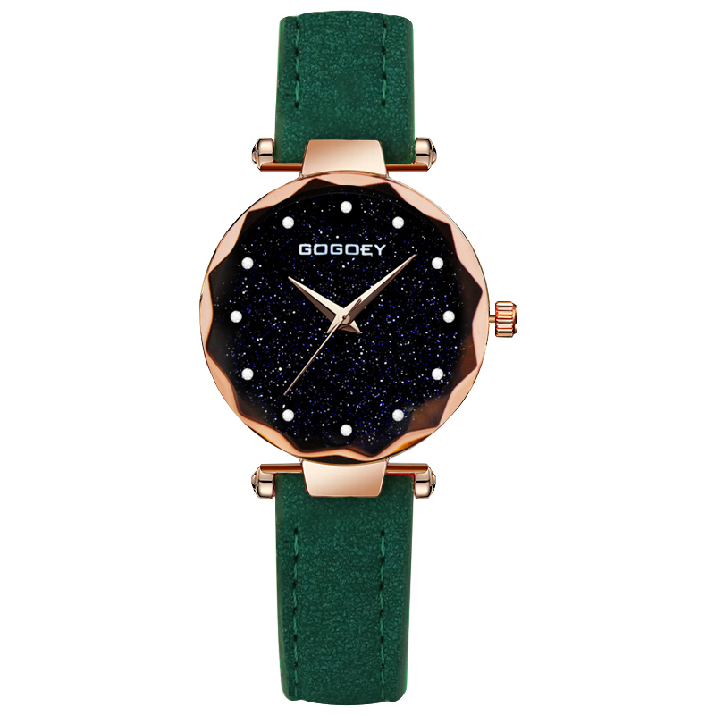 Exquisite Ladies Watch Starry Sky Female Leather Quartz Wrist Watch