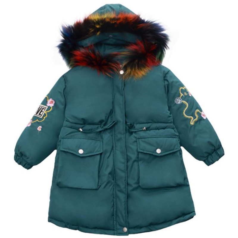 DFXD Girls Korean Style Cotton Padded Coat Winter Thick Long Zipper Children Down Jacket Flower Embroidery Big Fur Collar Coat mcckle women winter coat thick warm parka with big fur collar plus size fashion hooded cotton padded long puffer coat outerwear