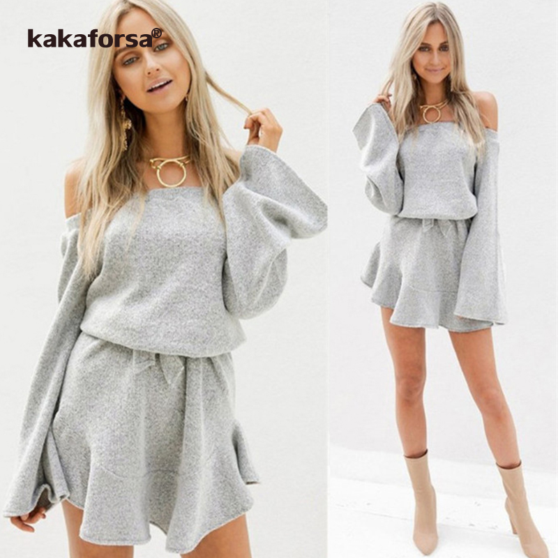 32b1a68f53d Kakaforsa Autumn Off Shoulder Knitted Sweater Dress Women Winter Plus Size  Long Sleeve Dresses Casual Grey Mini Dress Vestidos-in Dresses from Women s  ...