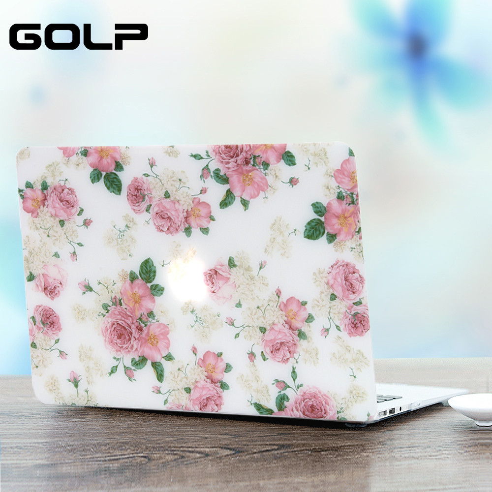 Cover For MacBook Pro 13 15 Air 13 12 11 case GOLP Cute Flower Laptop Full Protective back cover for macbook air 13 11 12 case cute cartoon style protective pc back case for iphone 5 multicolor