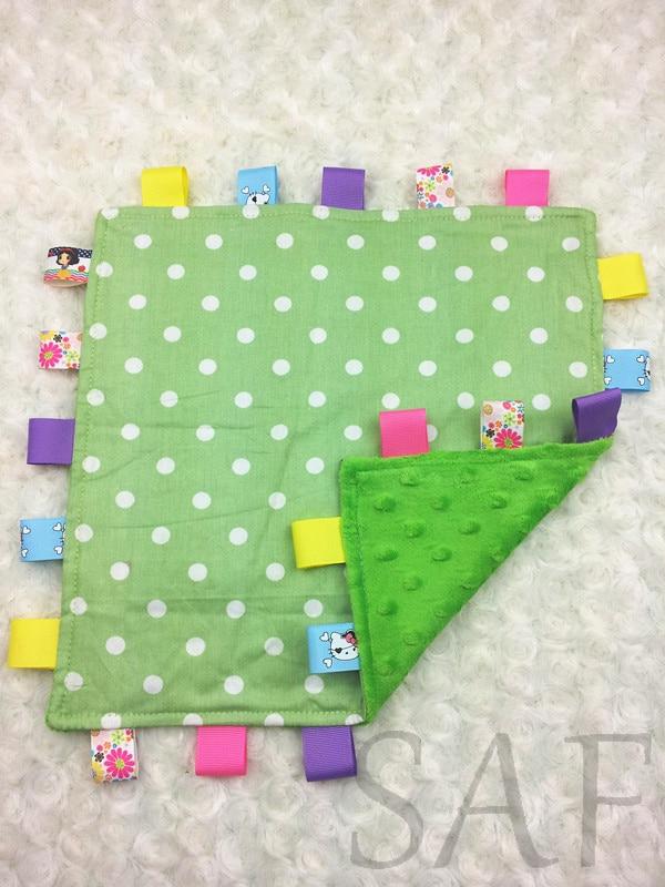 Free Shipping Taggie Blanket Baby Blanket Green Dot Minky