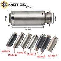 ZS MOTOS 51 61mm Motorcycle Exhaust Muffler SC GP Escape Exhaust Mufflers Carbon Fiber Exhaust Pipe For Z750 R1 R6 S1000RR