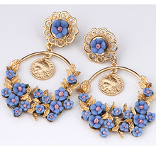 Charmcci BIG trendy fashion high quality 4 color drop earring jewelry Europe wind rose flower branch dangle earrings for women