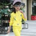 Дети весна одежда наборы девочка мультфильм шаблон хлопка случайные капюшоном пальто + брюки малыш девушки спортивные костюмы