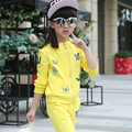 Children's spring clothing sets baby girl cartoon pattern cotton casual hooded coat + pants kid girl sports suits