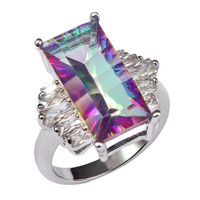 Huge Rose Rainbow Crystal Zircon With Multi White Crystal Zircon 925 Sterling Silver Ring For Women Size 6 7 8 9 10 11 F1464
