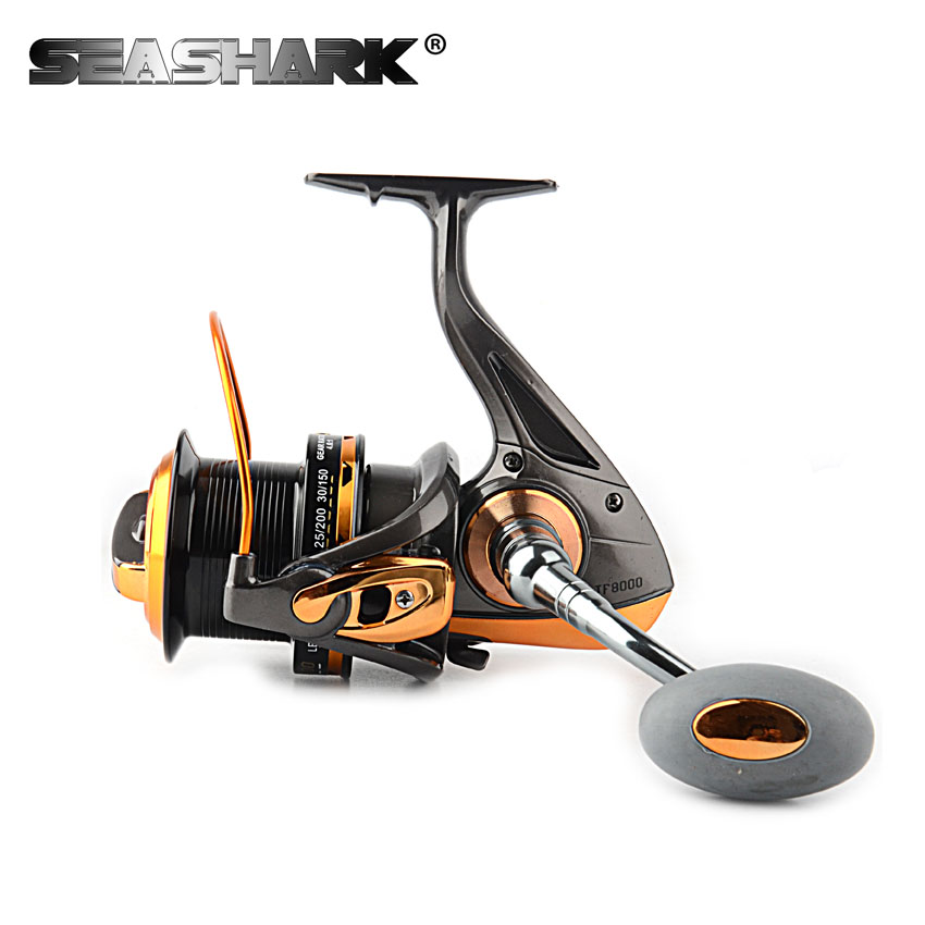 купить SEASHARK Sea Fishing Spinning Reel with Metal Spool 13BB 8000 9000 Gear ratio 4.6:1 Saltwater Carp Fishing Reel по цене 2373.25 рублей