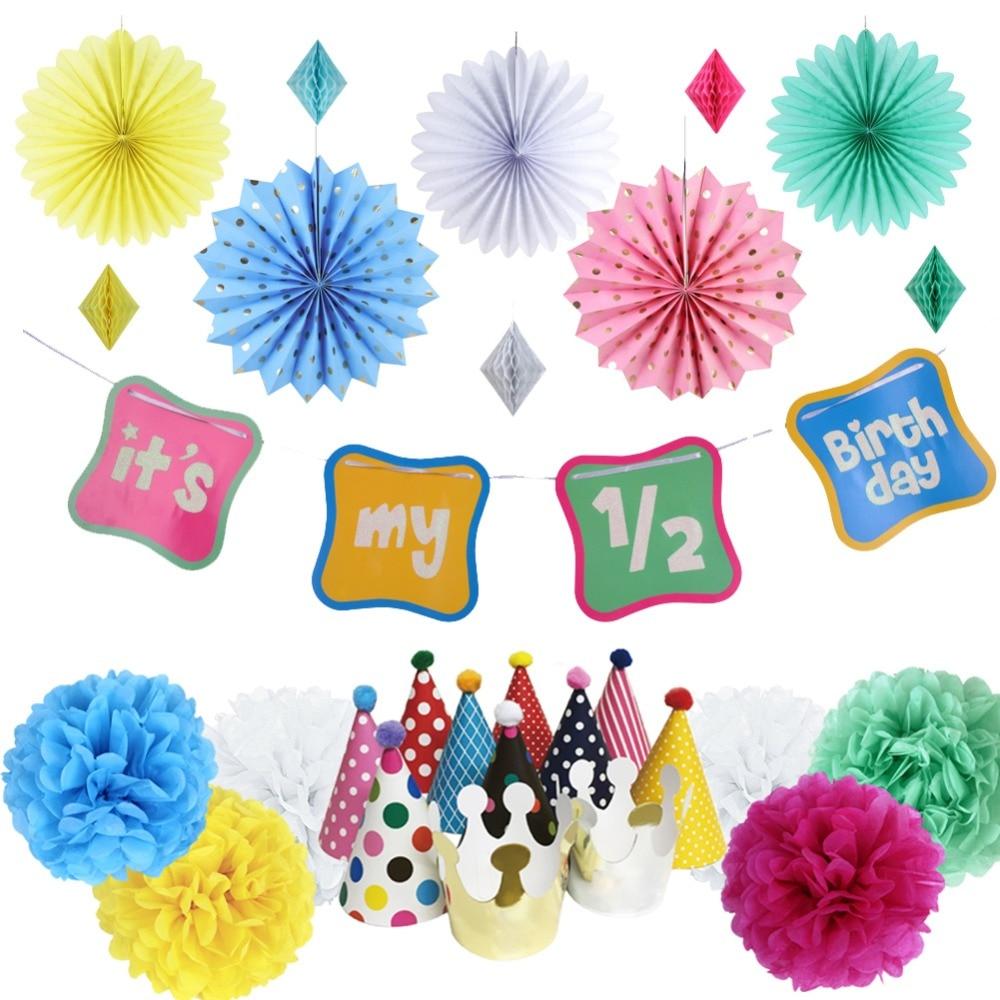 18pcs Rainbow Half Birthday Party Decoration Its My 1 2 Banner Paper Hats Fans 6 Months Baby Girl Boy Cartoon Decor