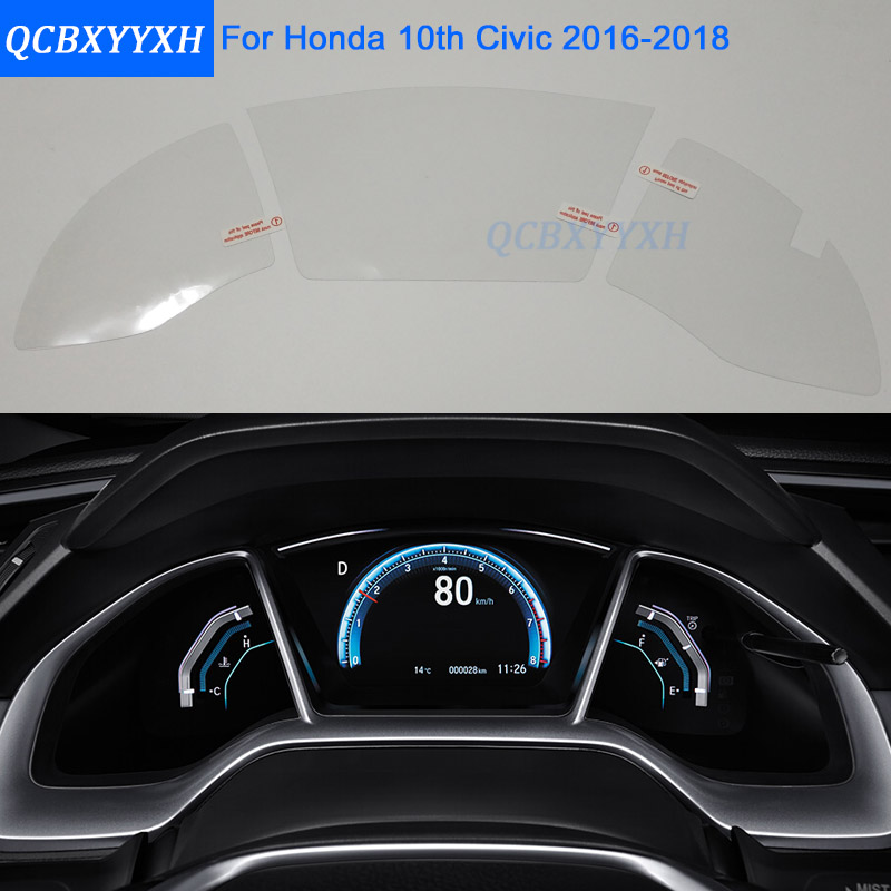 Car styling car dashboard paint protective pet film for honda 10th civic 2016 2017 2018 light for Automotive interior protective film