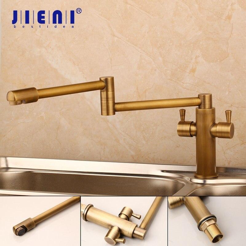 JIENI Solid Brass Black ORB Antique Brass 360 Swivel Kitchen Faucet Spray Dual Handles Kitchen Vessel