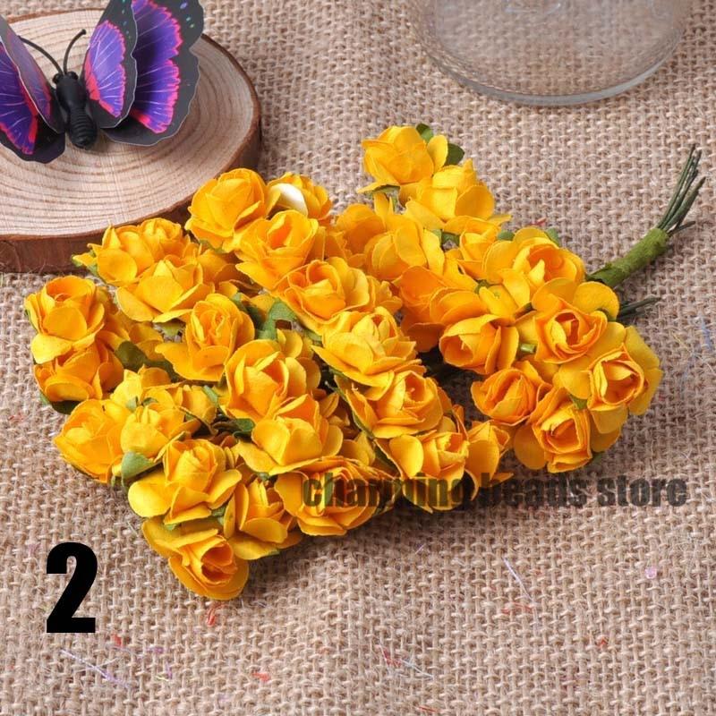 24 шт. 15 мм мини искусственный Бумага розы букет Свадебный декор Скрапбукинг DIY cp0022x - Цвет: 2