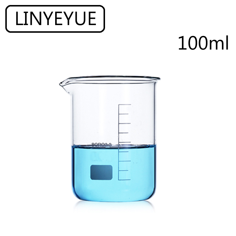 LINYEYUE 100mL Glass Beaker Borosilicate Glass Measuring Cup High Temperature Resistance Laboratory Chemistry Equipment