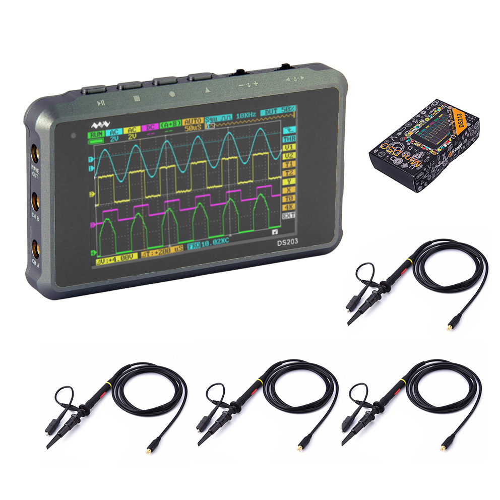 O030 ( + 4 PROBES ) DSO203 Upgraded DSO213 DS213 Handheld ARM Nano Mini Portable Pocket-Sized Digital Oscilloscope 15MHz 100MSa image