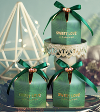 20pcs/lot 4*9.5CM green Paper Candy Box with ribbon chocolate gift boxes wedding souvenirs for guests favors and gifts