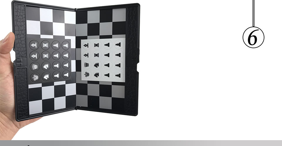 Easytoday Mini Chess Games Set Plastic Chess Board Portable Magnetic Folding Chess Pieces Pocket Entertainment Games (6)