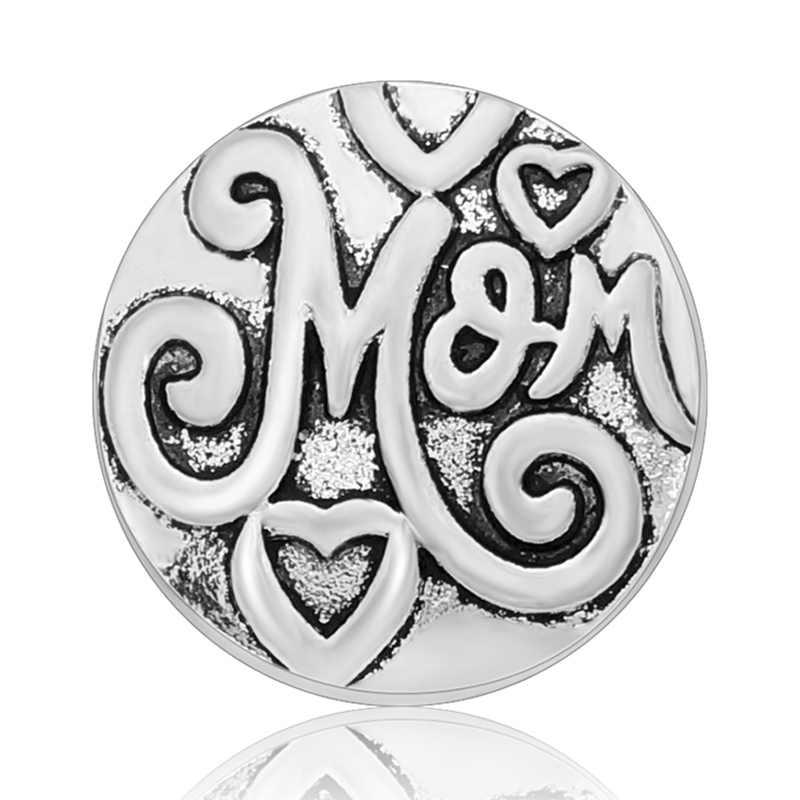 Venda quente Feliz dia das Mães 18mm Amor mãe mãe tia palavras simples botões de pressão botões de pressão fit snap colar atacado