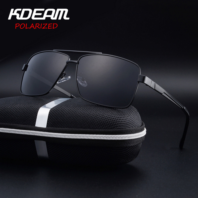 49706e0393 KDEAM Eyewear Men Sunglasses Square Frame Driving Sun Glasses HD Polarized  lens 4 Colors Women oculos de sol UV400 KD710