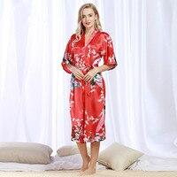 عالية الجودة الأحمر الإناث رايون رداء كيمونو حمام ثوب جديد الصين سيدة النوم الحجم sml xl xxl xxxl موهير vestido 50096