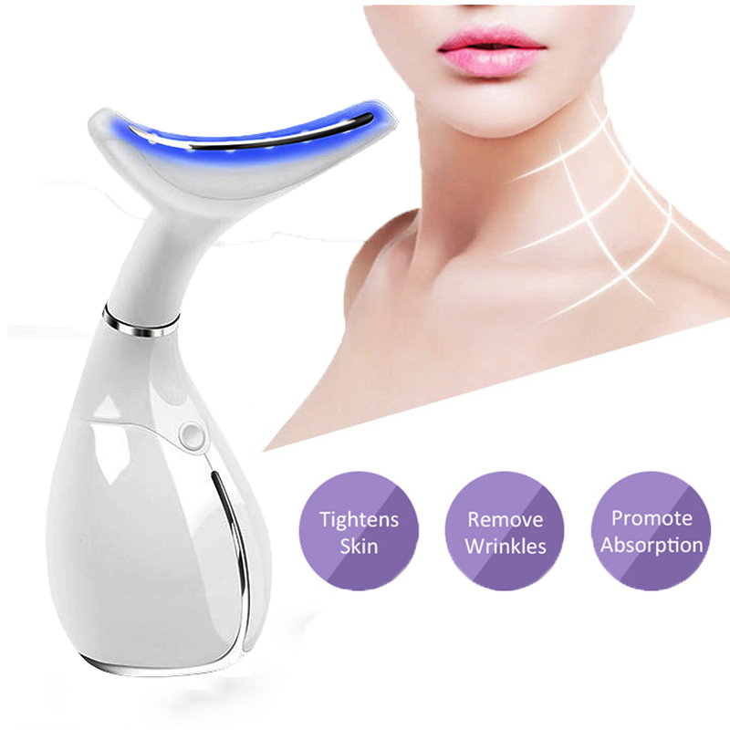 Neck Face Massager Vibration Wrinkles Remover Double Chin Lifting LED Photon Light Therapy Anti aging Sagging