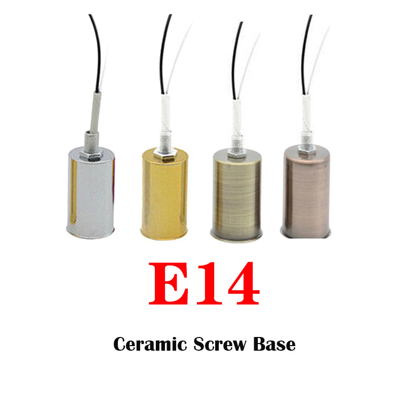 E14 Lamp Socket Ceramic Holder Pendant Round Ceramic Screw Base Adapter Decor For LED Light Bulb Chrome/Gold/Bronze/Red Bronze