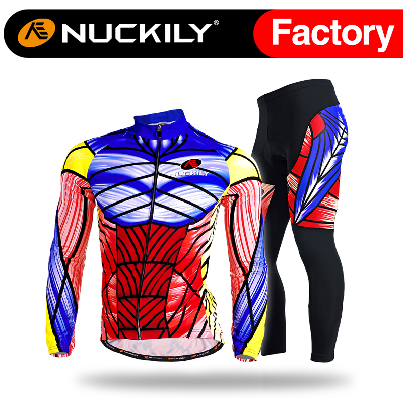 Nuckily Multicolor design mens long sleeve cycling jersey and tight set  MC002MD002
