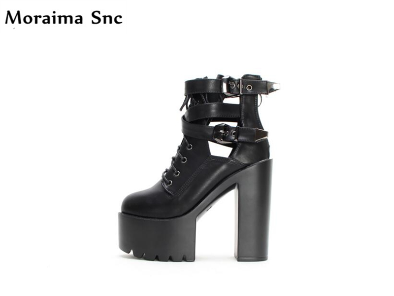 Moraima Snc fashion women Ankle boots cut-out high heels Ankle strap buckle side zip cross-tied round toe platform riding boots