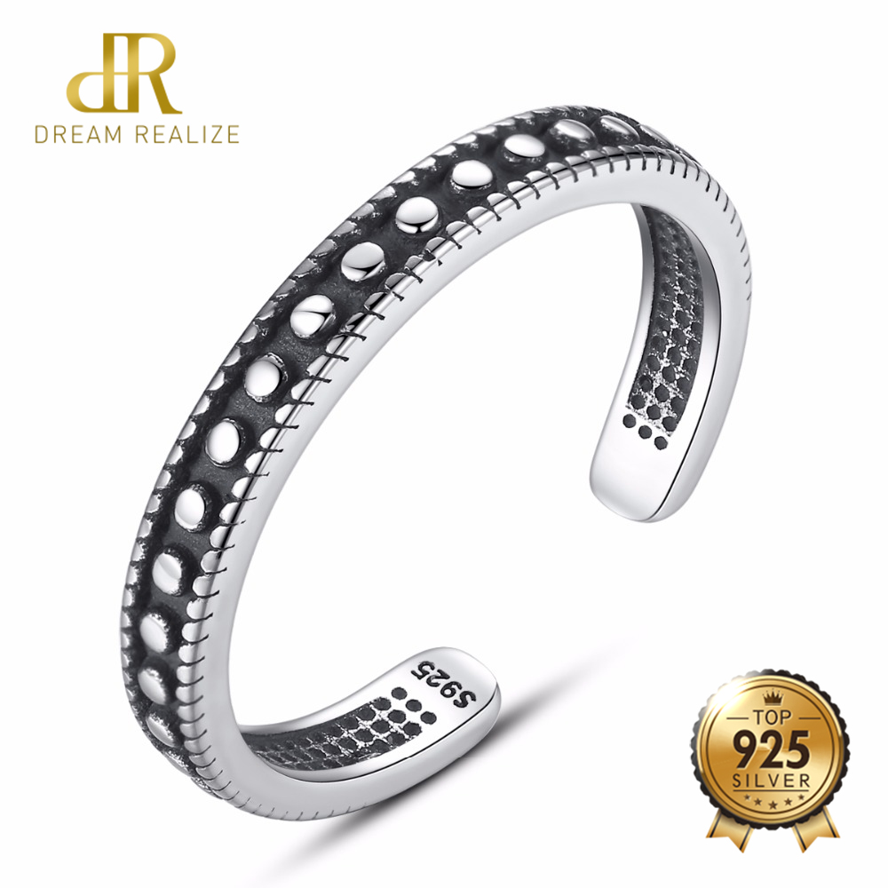 DR Punk Style Black Ring 925 Sterling Silver Statement Cuff Adjustable Rings for Women Brand Fine Jewelry High QualityDR Punk Style Black Ring 925 Sterling Silver Statement Cuff Adjustable Rings for Women Brand Fine Jewelry High Quality