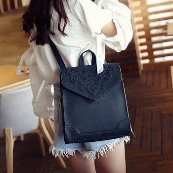 European and American fashion shoulder bag female 2018 British retro college style student bag simple square travel bag Fashion Backpacks