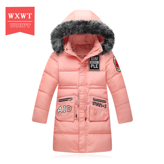 Wxwt пуховик для девочек для девочки пальто большой меховой с капюшоном и воротником Длинные Верхняя одежда для ребенка парки Пальто-10--30 градусов Куртки