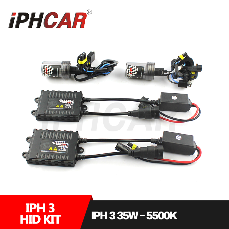 Free Shipping IPHCAR Car Styling Hid Xenon H1 H7 H11 9004 9005 9006 9007 Bulb Kit 35W HID Light Kit with Slim Ballast led h4 h7 h11 h1 h10 hb3 h13 h3 9004 9005 9006 9007 cob led car headlight bulb 80w 8000lm 6000k auto headlamp 200m light range