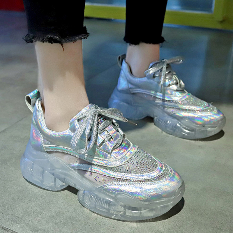 Glitter Crystal Transparent Sneakers Vulcanize Shoes Chunky Sneakers Women Platform Sneakers Spring Casual Running Women Shoes in Women 39 s Vulcanize Shoes from Shoes
