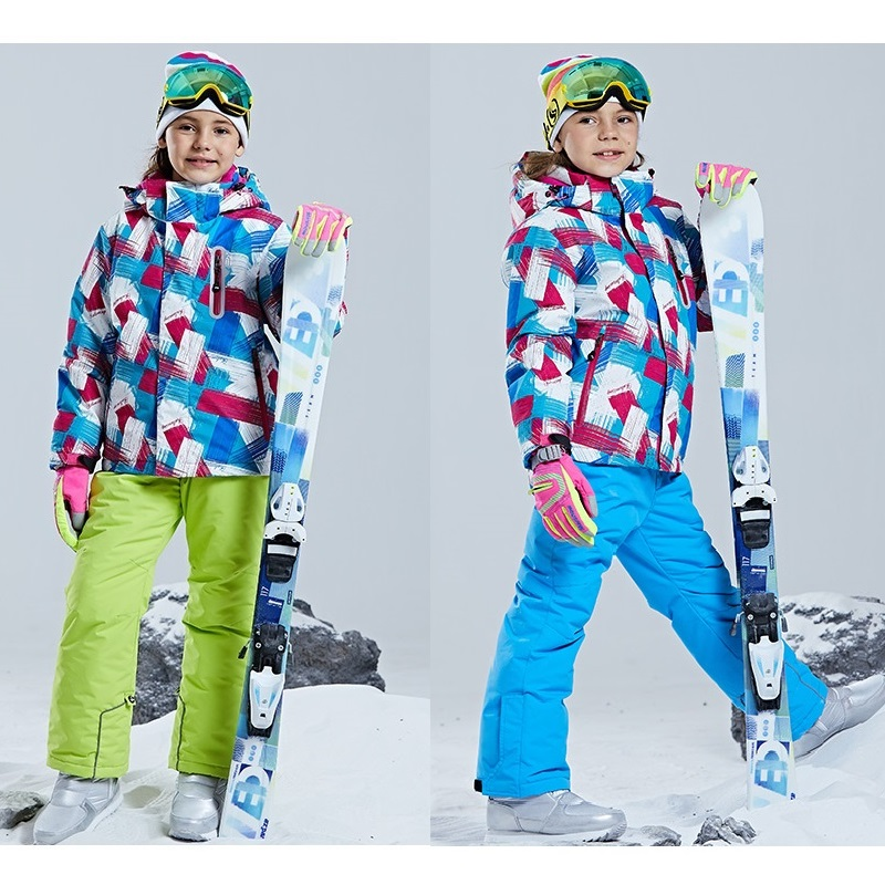 Combinaison de Ski d'hiver professionnelle pour enfants coupe-vent imperméable veste extérieure chaude + pantalon pour enfants ensemble de Ski de snowboard à capuche