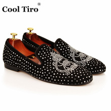 COOL TIRO new Fashion Rhinestone Black cattle suede Men Flats Smoking Slippers Loafers Spider Diamonds Party Handmade Shoes