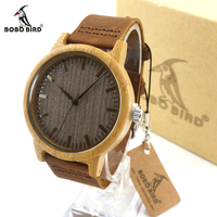 Bobobird Z001 New Arrival Vintage Round Bamboo Wood Quartz Watches With Leather Bands Womens Mens Watches