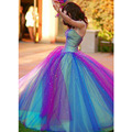 2017 New Fashion Colorized Long Prom Dresses Sweetheart Ball Gown Purple Blue Party Dresses Vestido De Festa Robe De Soiree