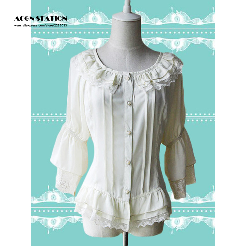 Free Shipping Ecru White Chiffon Lolita Blouse Hime Sleeves Lace Trim Ruffles Round Collar