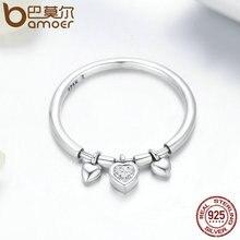 925 Sterling Silver Glittering Heart Clear CZ Female Ring